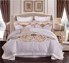 100s egypt cotton embroidery white color king queen size bedding sets wedding luxury bed set duvet cover set bedspread linen full bedding bedding sets