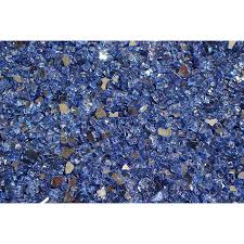 Exotic Glass 25-lb Cobalt Blue Reflective Tempered Glass Gas Fire Pit