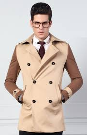 gentleman beige brown 2 tone cotton blend stylish pea coat by needpeacoat com is
