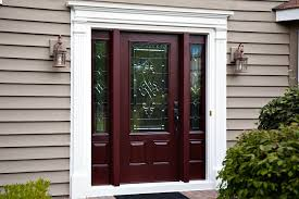 front doors with side panelsRustic Brown Stained Mahogany Wood Entry Door With Double Side