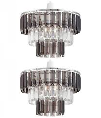 details about pair of modern clear smoked crystal ceiling light shade pendant chandelier