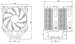 neptwin cpu air coolers product dimension