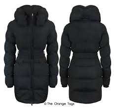 womens quilted belted zip padded coat las warm winter jacket top size 8 16