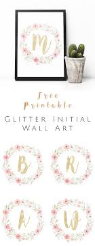 Free Wall Printables Free Printable Glitter Initial Wall Art Watercolor And Gold