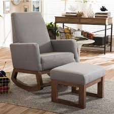 padded rocking chair. Simple Chair Baxton Studio Yashiya MidCentury Gray Fabric Upholstered Rocking Chair And  Ottoman Set In Padded L