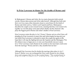 is friar lawrence to blame for the deaths of romeo and juliet  document image preview
