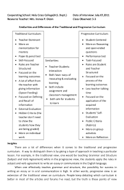 H Chart Of Traditional And Progressive Curriculum H Chart Of Traditional And Progressive Curriculum