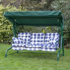 garden swing seat cushions uk. roma 3 seater swing seat - green frame with classic cushions garden uk