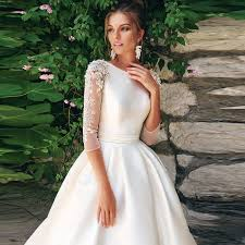 O neck 3/4 Sleeves <b>Beading Applique Satin</b> A line Wedding Dress ...