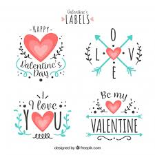 flat valentine s day label badge collection free vector