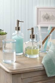 These glass bath accessories are great for showcasing Q-tips, sponges and  of course, your favorite lotions and hand soap.