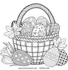 black and white doodle easter eggs in the basket coloring book for