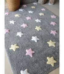 tricolor stars grey pink rug