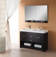 47 inch modern double sink bathroom vanity in espresso with open shelf