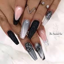 Coffin Black Nail Designs