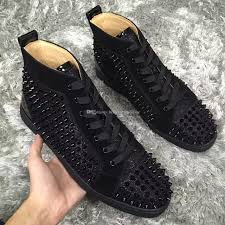 Glitter Bottom Shoes Designer Cheap Fashion Paris Black Glitter Leather With Spikes Sneakers For Women Men High Top Red Bottom Shoes Designer Lace Up Casual Trainers Chau