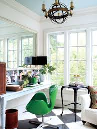 white airy home office. light and airy home office with blackandwhite checkered painted wood floors white p