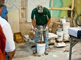 mixing the concrete hand pressed concrete countertop cheng concrete exchange