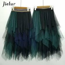 <b>Jielur</b> Autumn <b>3 Layers</b> Princess Tulle Skirts Vintage Solid Color ...