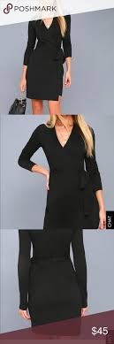 Lulus Size Chart Long Sleeve Black Wrap Lulus Dress Gorgeous Fitted Wrap