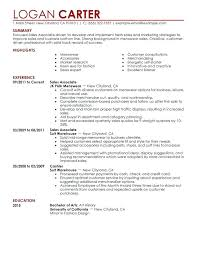 Sales Associate Resume Description Example Of Resume Retail Sales