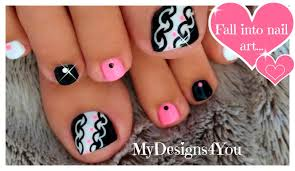 Hot Pink and Black Toenail Art Design ♥ - YouTube