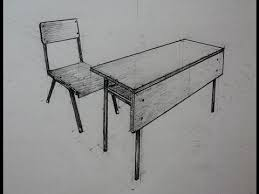 school chair drawing. Unique School How To Draw  School Desk With Chair Two Point Perspective Intended School Chair Drawing R