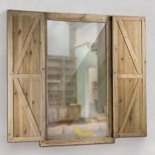 Shuttered Wall Mirror with Rustic Wooden Frame Farmhouse Decor - Free  Shipping Today - Overstock.com - 23394117