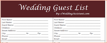 Free Printable Wedding Guest List Templates   Deweddingjpg.com