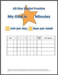 Piano Practice Chart All Star Recital Practice Chart My Fun Piano Studio
