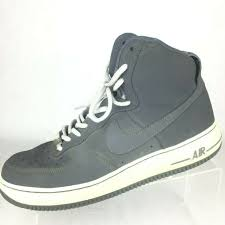 nike air force 1 mens size 9 high top leather gray white lace up 315121
