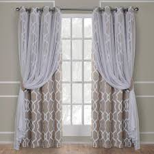 carmela natural layered geometric blackout and sheer grommet top window curtain