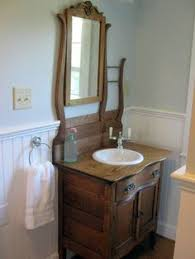 washstand bathroom pine: antique wash stand upcycled into vanity antique oak hotel commode re purposed into a