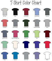T Shirt Color Chart Team Sport Tail T Shirt