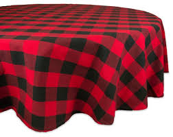dii red buffalo check tablecloth 70 round rustic tablecloths by design imports