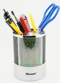Pen Pencil Holder and Digital Clock, Temperature Display