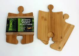 jigsaw wooden serving platters | Totally Bamboo Puzzle Party Platter & Geo  Square Cutting Board