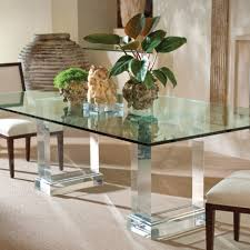 transpa acrylic glass top dining table base mixed white upholstered chair contemporary