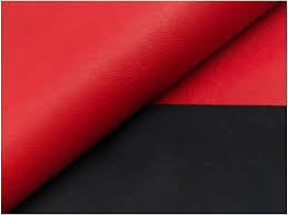 red soft faux leather viscose back fabric imitation pu leather material for clothes upholstery decor 145cm wide