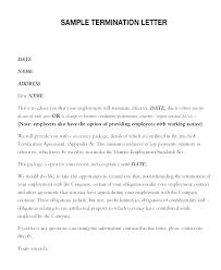 Free Sample Termination Letter For Employee To Cause