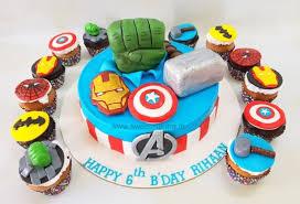 Avengers Superheroes Theme Designer Fondant Cake And Cupcakes For