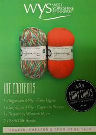 Fairy Lights Sock Kit West Yorkshire Spinners Wys Signature 4ply Yarn Christmas Sock Kit