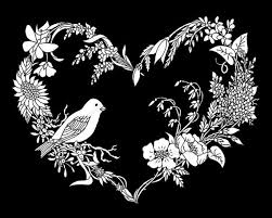 Small Picture Adult Coloring Page SongBird Wildflower Heart Instant