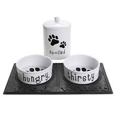 DII Hungry, Thirsty and Spoiled Ceramic Pet Dining Set in See Photo $39.95