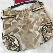 Coach Signature C Snake Shoulder Purse Bag Medium