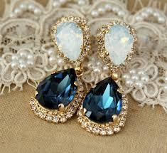 blue chandelier earrings blue navy white opal chandelier earring