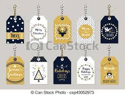 Christmas And Holiday Gift Tags Set On Gray Background