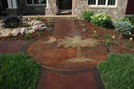backyard concrete designs. Brilliant Designs Concrete Patio And Walkway With Stamped Palm Tree Intended Backyard Concrete Designs A