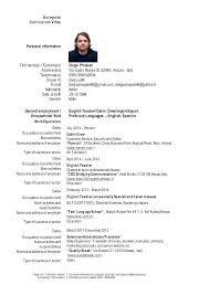 English Curriculum Vitae Europass Model Cv Engleza