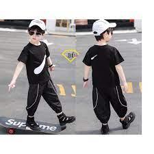 Quần áo Nike ĐEN phong cách cho bé trai Sumikid - BFVN - Thời trang trẻ em  cao cấp - chất vải 100% cotton xuất khẩu chính hãng 140,000đ